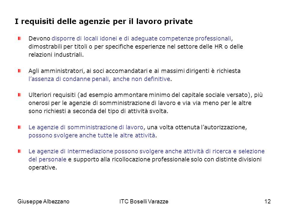 Giuseppe AlbezzanoITC Boselli Varazze12 I requisiti delle agenzie per il lavoro private Devono disporre di locali idonei e di adeguate competenze professionali, dimostrabili per titoli o per specifiche esperienze nel settore delle HR o delle relazioni industriali.