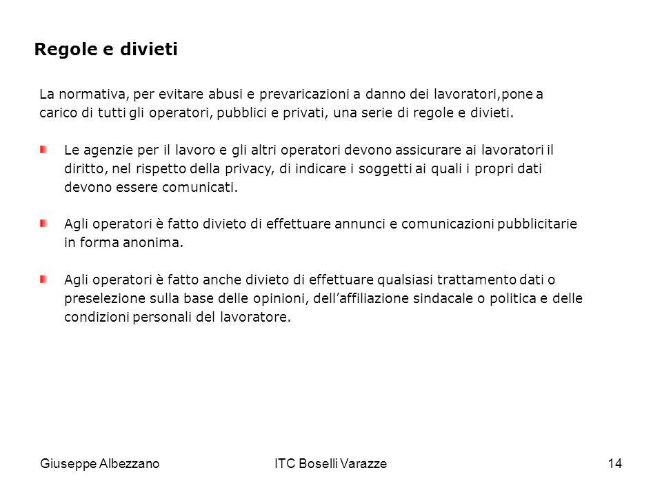 Giuseppe AlbezzanoITC Boselli Varazze14 Regole e divieti La normativa, per evitare abusi e prevaricazioni a danno dei lavoratori,pone a carico di tutti gli operatori, pubblici e privati, una serie di regole e divieti.