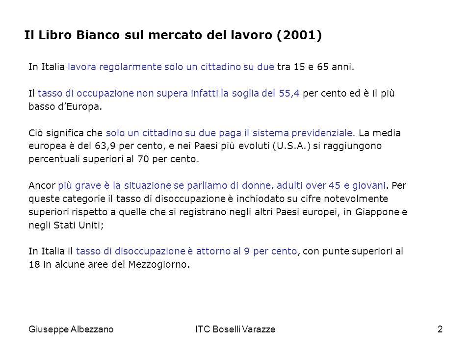 Giuseppe AlbezzanoITC Boselli Varazze2 Il Libro Bianco sul mercato del lavoro (2001) In Italia lavora regolarmente solo un cittadino su due tra 15 e 65 anni.