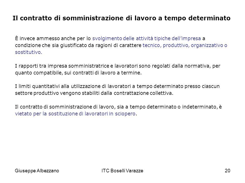 Giuseppe AlbezzanoITC Boselli Varazze20 È invece ammesso anche per lo svolgimento delle attività tipiche dellimpresa a condizione che sia giustificato da ragioni di carattere tecnico, produttivo, organizzativo o sostitutivo.