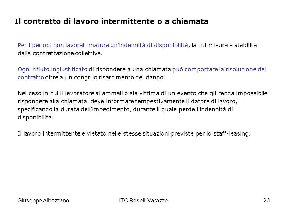 Giuseppe AlbezzanoITC Boselli Varazze23 Per i periodi non lavorati matura unindennità di disponibilità, la cui misura è stabilita dalla contrattazione collettiva.