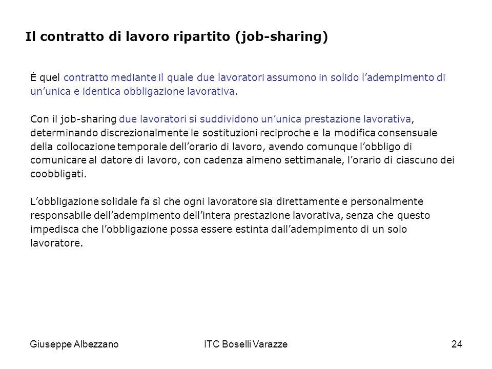 Giuseppe AlbezzanoITC Boselli Varazze24 È quel contratto mediante il quale due lavoratori assumono in solido ladempimento di ununica e identica obbligazione lavorativa.