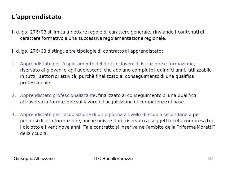 Giuseppe AlbezzanoITC Boselli Varazze37 Lapprendistato Il d.lgs.