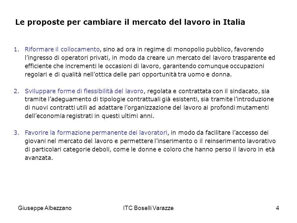 Giuseppe AlbezzanoITC Boselli Varazze15 La Borsa continua nazionale del lavoro Tutti gli operatori,pubblici e privati, hanno lobbligo di connessione alla Borsa continua nazionale del lavoro.