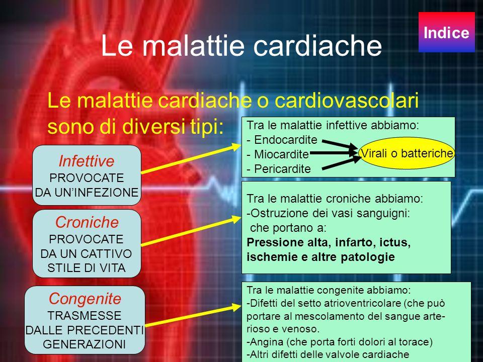 Le malattie cardiache Le malattie cardiache o cardiovascolari sono di diversi tipi: Infettive PROVOCATE DA UNINFEZIONE Croniche PROVOCATE DA UN CATTIV