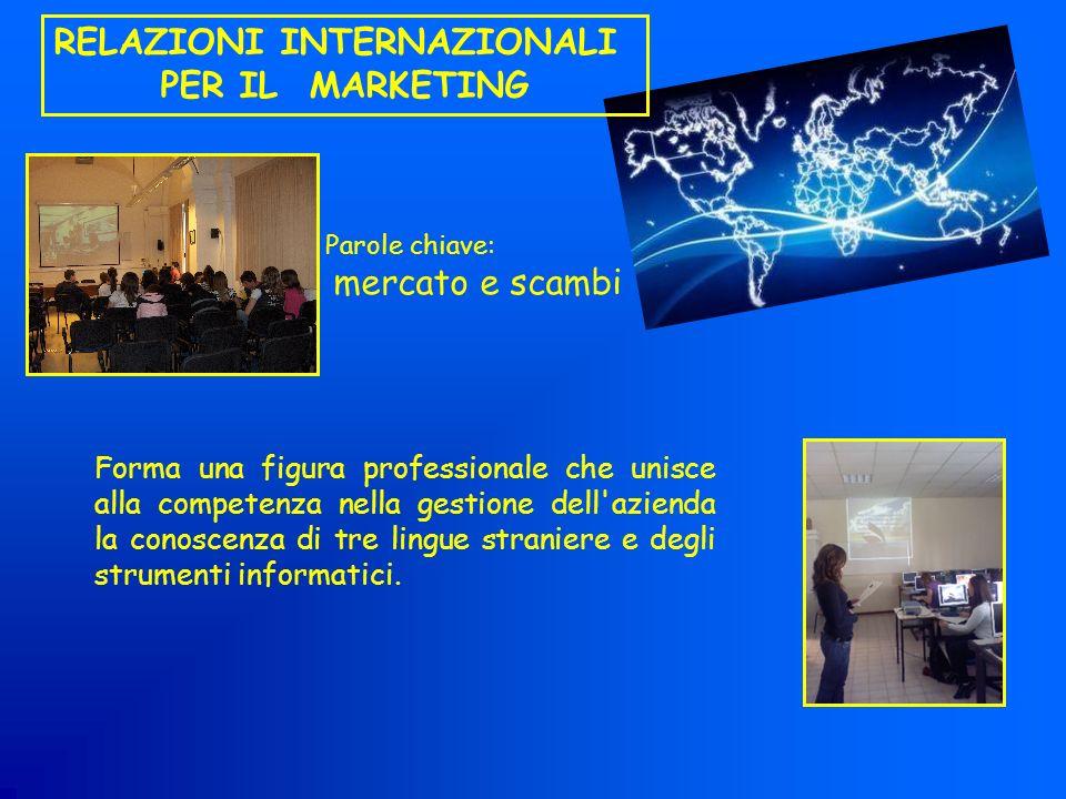 RELAZIONI INTERNAZIONALI PER IL MARKETING Forma una figura professionale che unisce alla competenza nella gestione dell'azienda la conoscenza di tre l