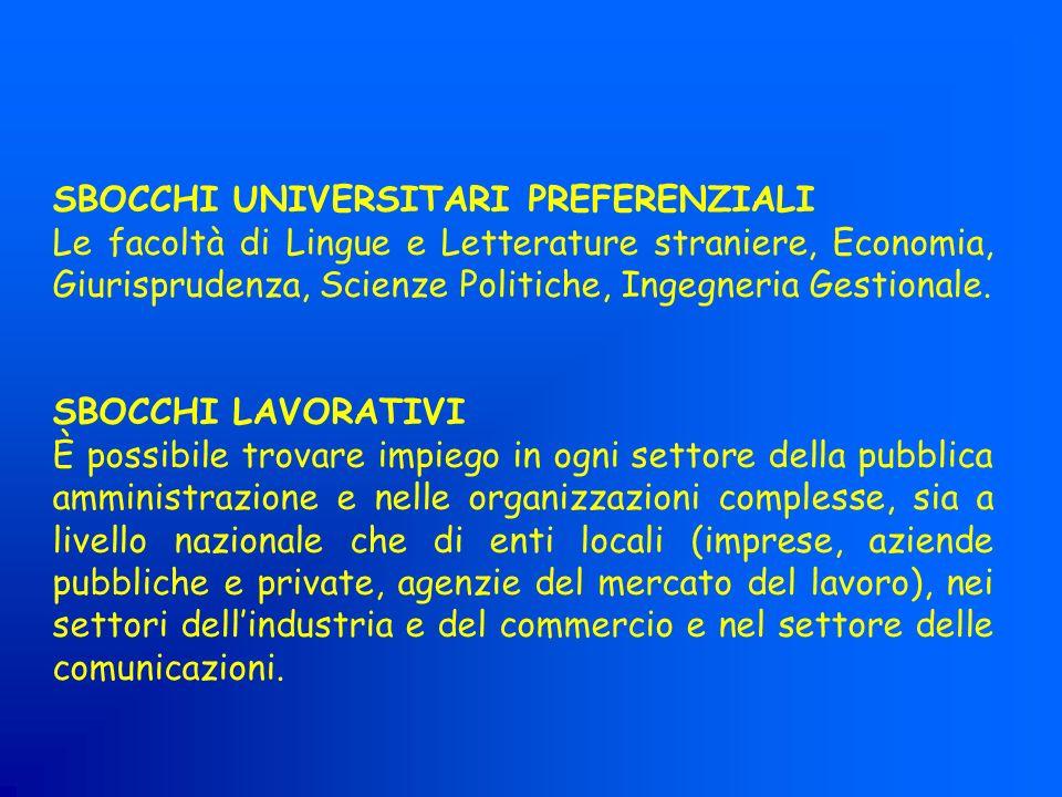 SBOCCHI UNIVERSITARI PREFERENZIALI Le facoltà di Lingue e Letterature straniere, Economia, Giurisprudenza, Scienze Politiche, Ingegneria Gestionale. S