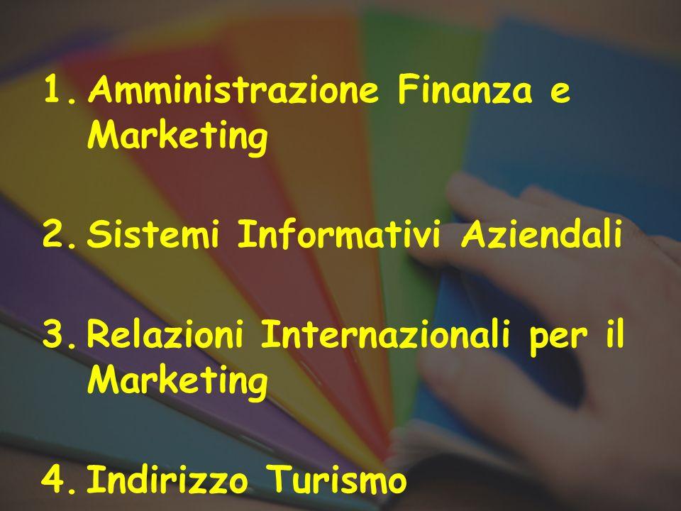 1.Amministrazione Finanza e Marketing 2.Sistemi Informativi Aziendali 3.Relazioni Internazionali per il Marketing 4.Indirizzo Turismo