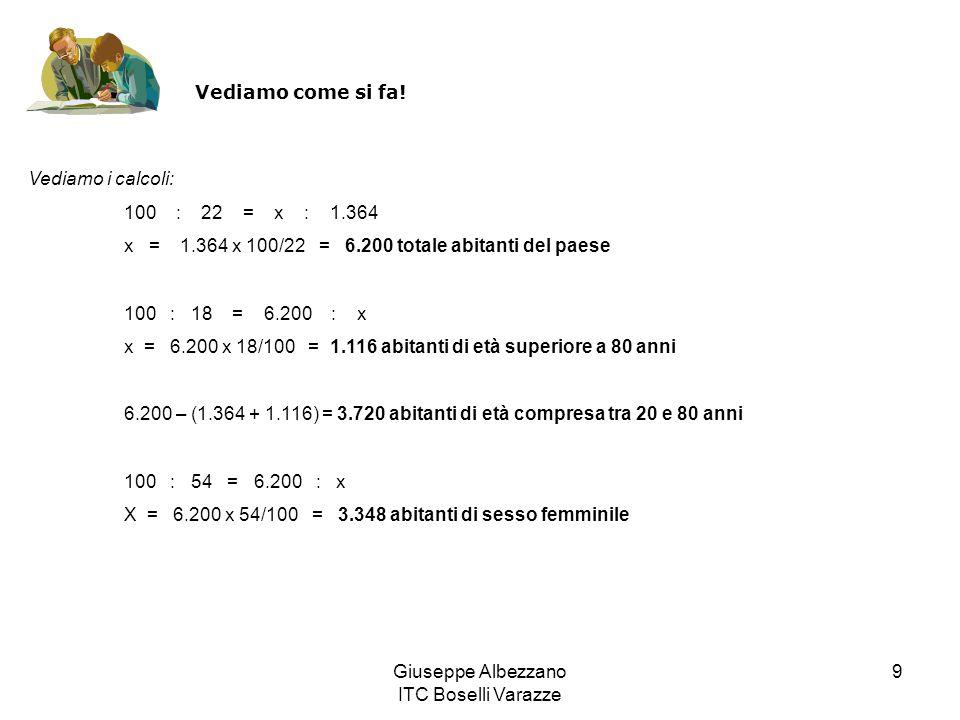 Giuseppe Albezzano ITC Boselli Varazze 9 Vediamo come si fa! Vediamo i calcoli: 100 : 22 = x : 1.364 x = 1.364 x 100/22 = 6.200 totale abitanti del pa