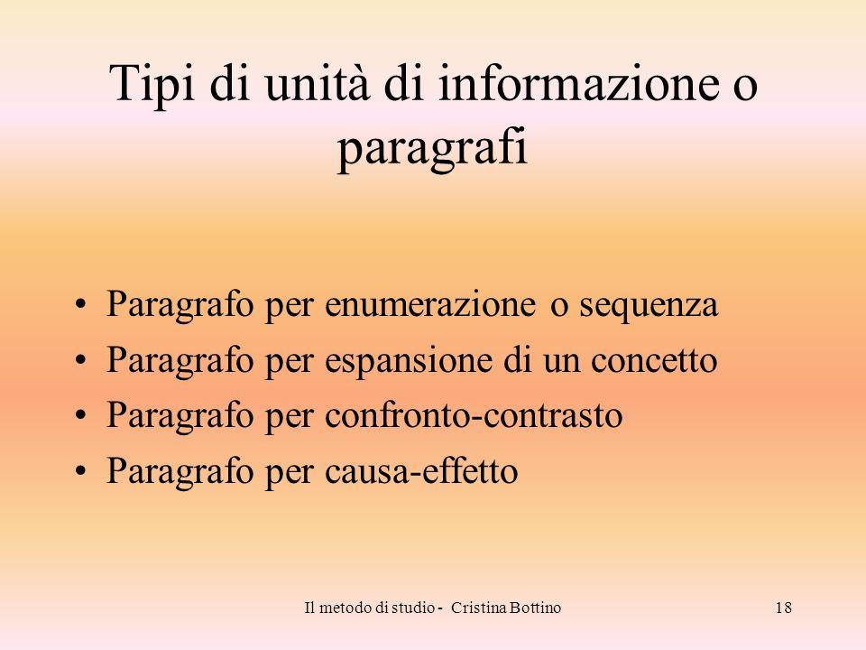 Il metodo di studio - Cristina Bottino18 Tipi di unità di informazione o paragrafi Paragrafo per enumerazione o sequenza Paragrafo per espansione di u