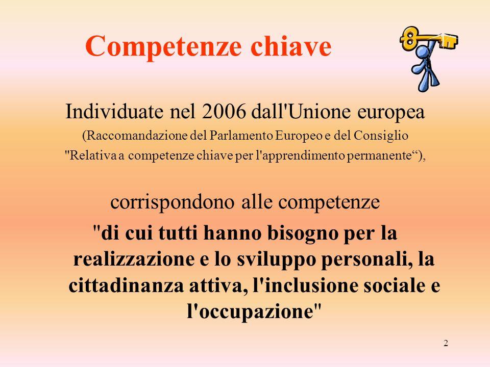 2 Competenze chiave Individuate nel 2006 dall'Unione europea (Raccomandazione del Parlamento Europeo e del Consiglio