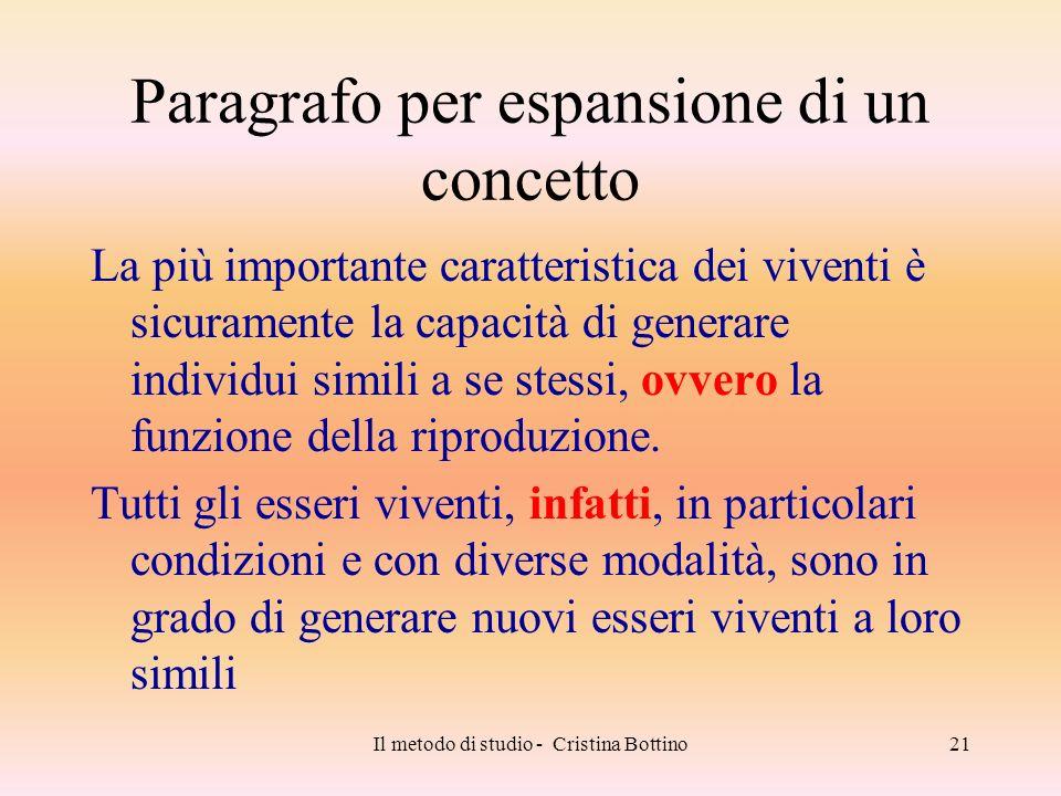 Il metodo di studio - Cristina Bottino21 Paragrafo per espansione di un concetto La più importante caratteristica dei viventi è sicuramente la capacit