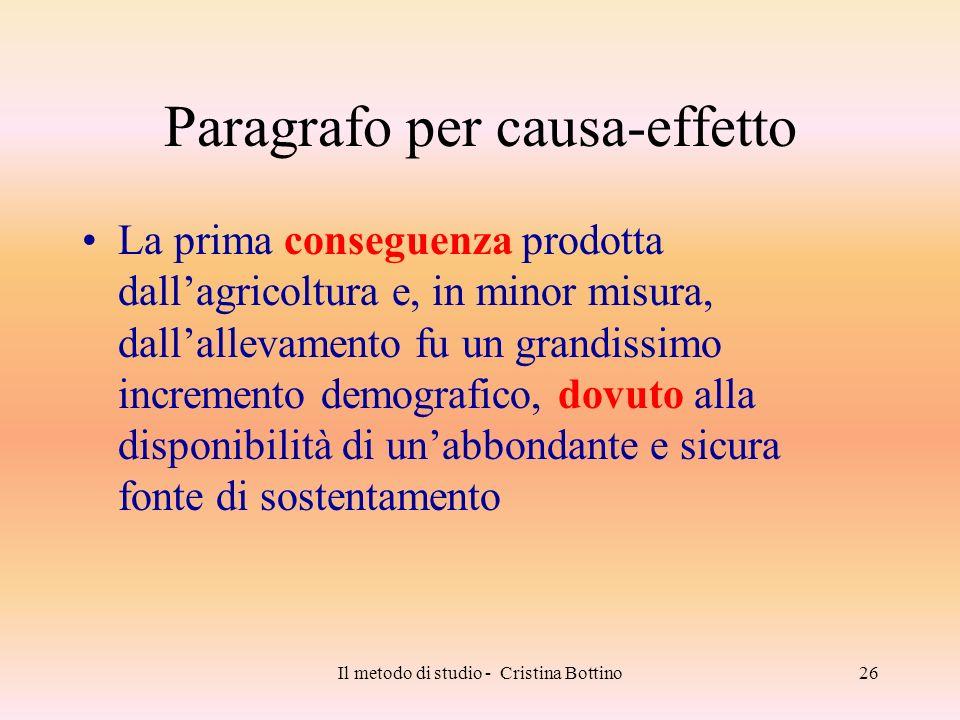 Il metodo di studio - Cristina Bottino26 Paragrafo per causa-effetto La prima conseguenza prodotta dallagricoltura e, in minor misura, dallallevamento