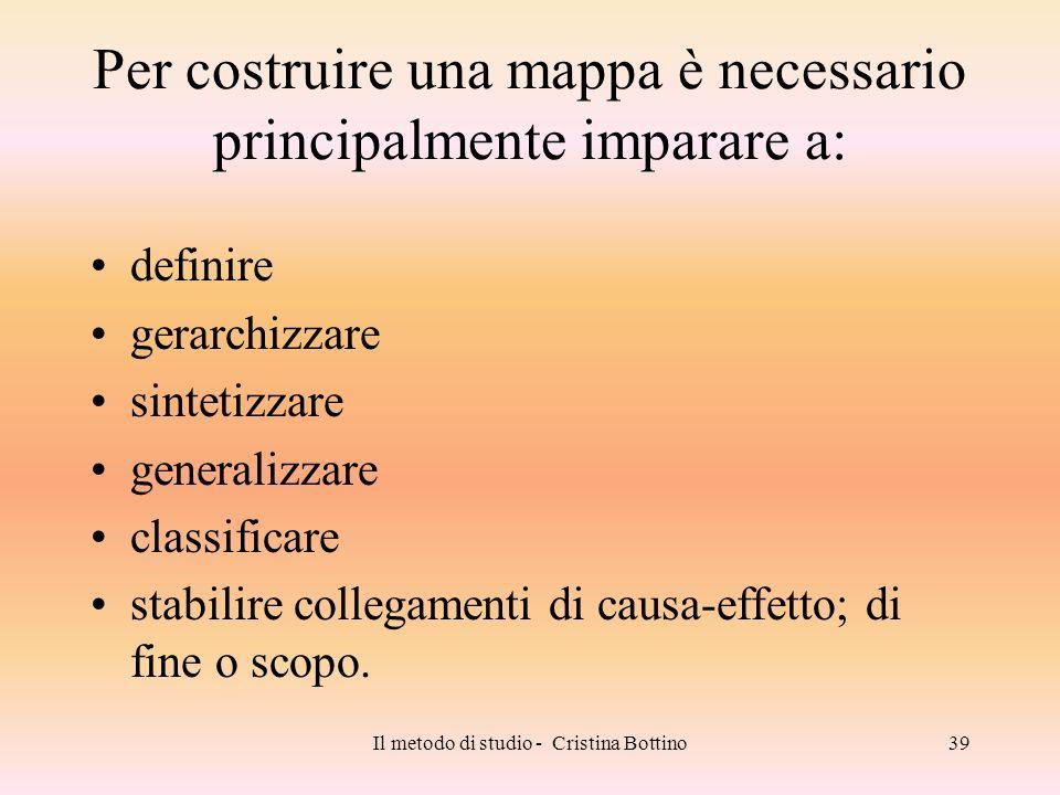Il metodo di studio - Cristina Bottino39 Per costruire una mappa è necessario principalmente imparare a: definire gerarchizzare sintetizzare generaliz