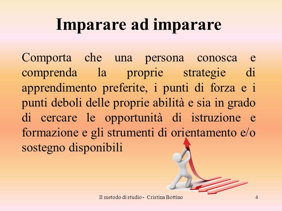 Il metodo di studio - Cristina Bottino4 Comporta che una persona conosca e comprenda la proprie strategie di apprendimento preferite, i punti di forza