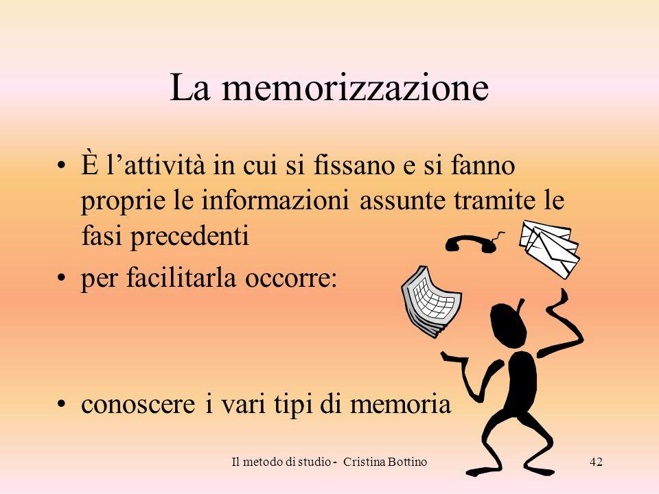 Il metodo di studio - Cristina Bottino42 La memorizzazione È lattività in cui si fissano e si fanno proprie le informazioni assunte tramite le fasi pr