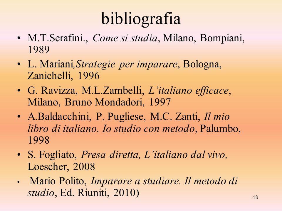 48 bibliografia M.T.Serafini., Come si studia, Milano, Bompiani, 1989 L. Mariani,Strategie per imparare, Bologna, Zanichelli, 1996 G. Ravizza, M.L.Zam