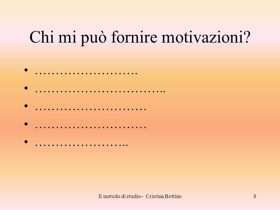 Il metodo di studio - Cristina Bottino9 Come posso impadronirmi di un metodo.