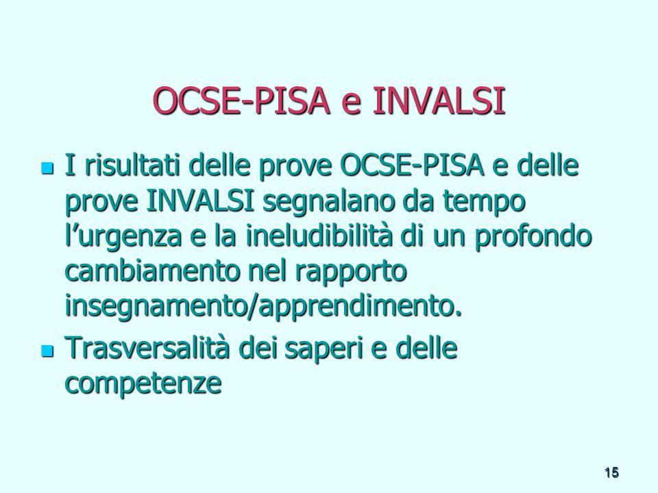 15 OCSE-PISA e INVALSI I risultati delle prove OCSE-PISA e delle prove INVALSI segnalano da tempo lurgenza e la ineludibilità di un profondo cambiamen