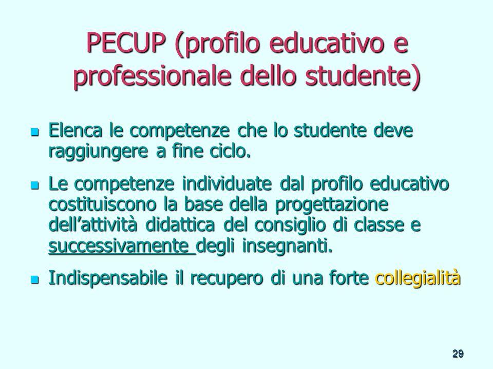 29 PECUP (profilo educativo e professionale dello studente) Elenca le competenze che lo studente deve raggiungere a fine ciclo. Elenca le competenze c