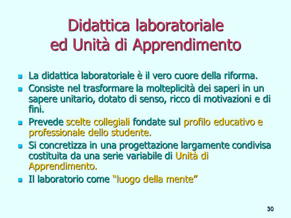 30 Didattica laboratoriale ed Unità di Apprendimento La didattica laboratoriale è il vero cuore della riforma. La didattica laboratoriale è il vero cu