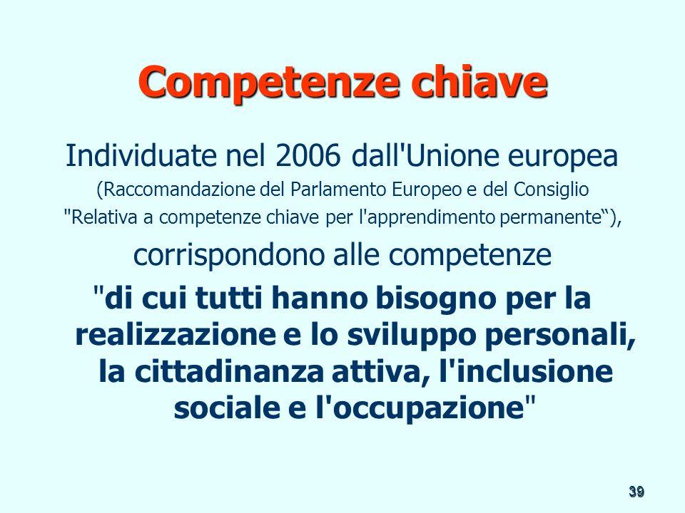 39 Competenze chiave Individuate nel 2006 dall'Unione europea (Raccomandazione del Parlamento Europeo e del Consiglio