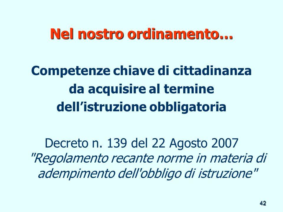 42 Nel nostro ordinamento… Competenze chiave di cittadinanza da acquisire al termine dellistruzione obbligatoria Decreto n. 139 del 22 Agosto 2007