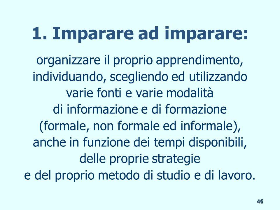 46 1. Imparare ad imparare: organizzare il proprio apprendimento, individuando, scegliendo ed utilizzando varie fonti e varie modalità di informazione