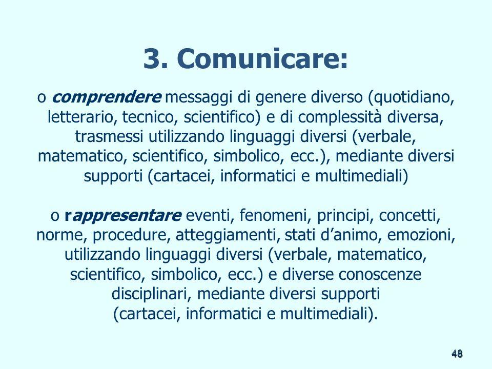 48 3. Comunicare: o comprendere messaggi di genere diverso (quotidiano, letterario, tecnico, scientifico) e di complessità diversa, trasmessi utilizza