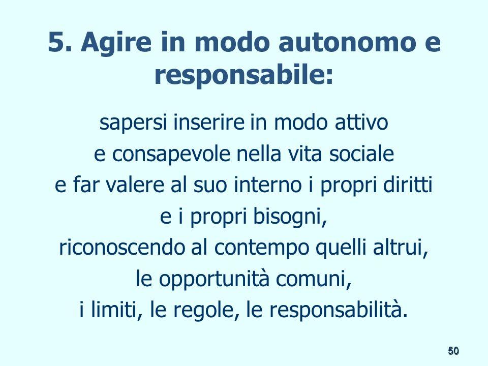 50 5. Agire in modo autonomo e responsabile: sapersi inserire in modo attivo e consapevole nella vita sociale e far valere al suo interno i propri dir