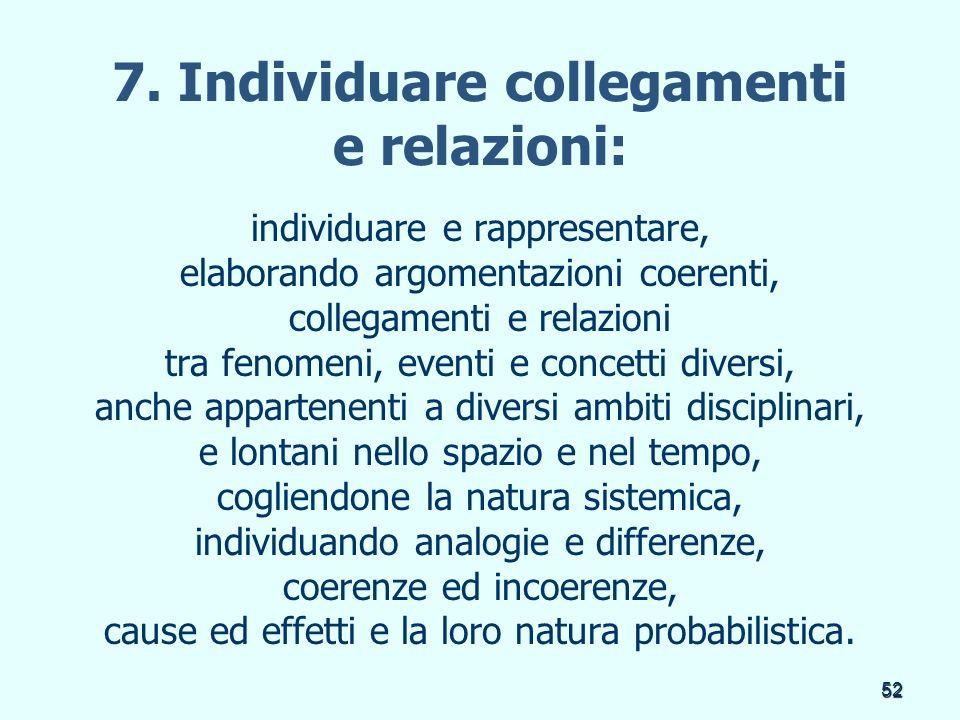 52 7. Individuare collegamenti e relazioni: individuare e rappresentare, elaborando argomentazioni coerenti, collegamenti e relazioni tra fenomeni, ev