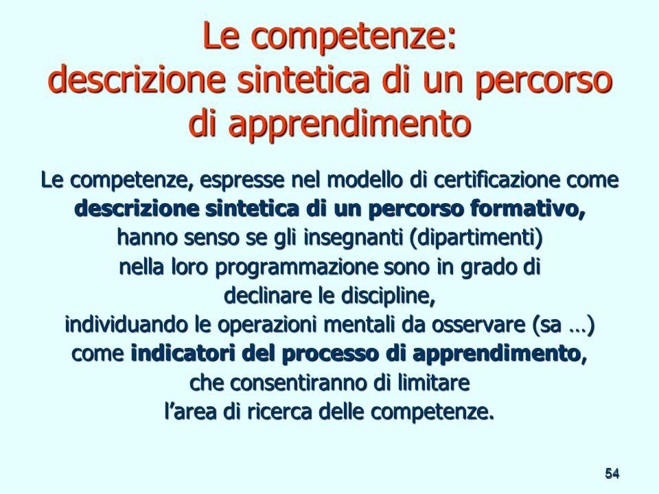 54 Le competenze: descrizione sintetica di un percorso di apprendimento Le competenze, espresse nel modello di certificazione come descrizione sinteti
