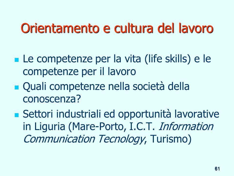 61 Orientamento e cultura del lavoro Le competenze per la vita (life skills) e le competenze per il lavoro Quali competenze nella società della conosc