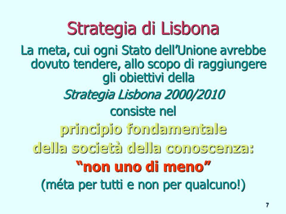 7 Strategia di Lisbona La meta, cui ogni Stato dellUnione avrebbe dovuto tendere, allo scopo di raggiungere gli obiettivi della Strategia Lisbona 2000