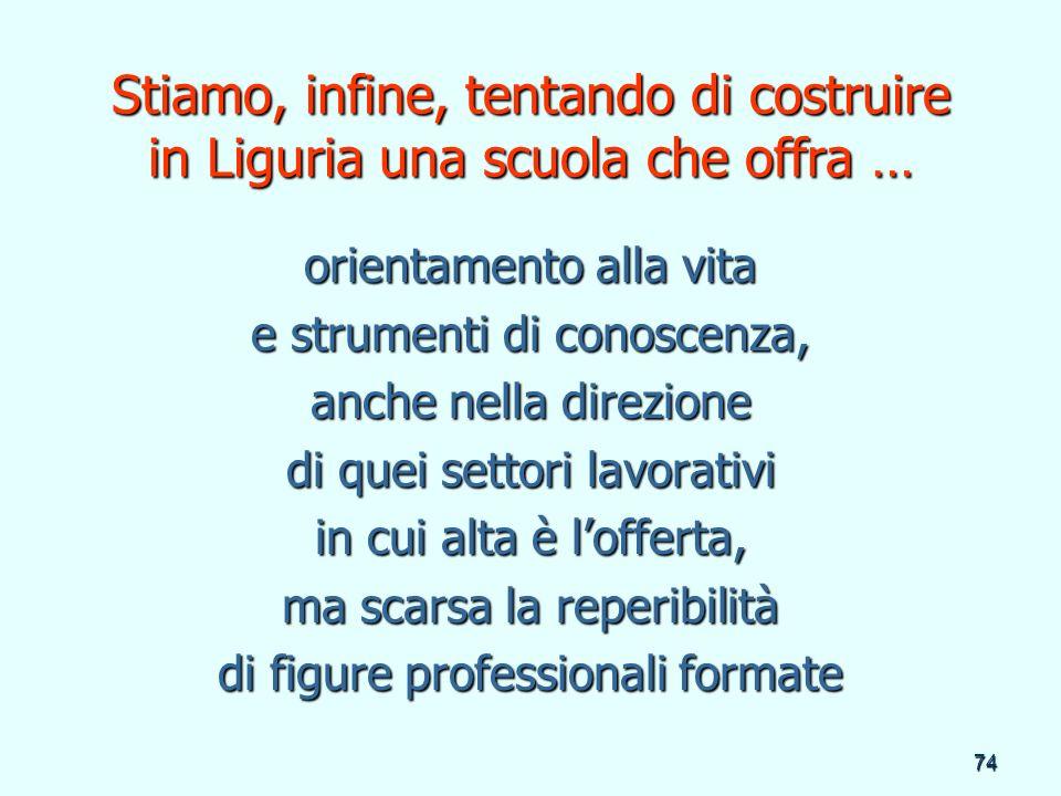 74 Stiamo, infine, tentando di costruire in Liguria una scuola che offra … orientamento alla vita e strumenti di conoscenza, anche nella direzione di