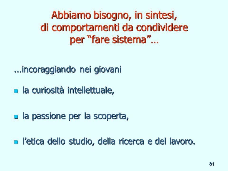 81 Abbiamo bisogno, in sintesi, di comportamenti da condividere per fare sistema…...incoraggiando nei giovani la curiosità intellettuale, la curiosità