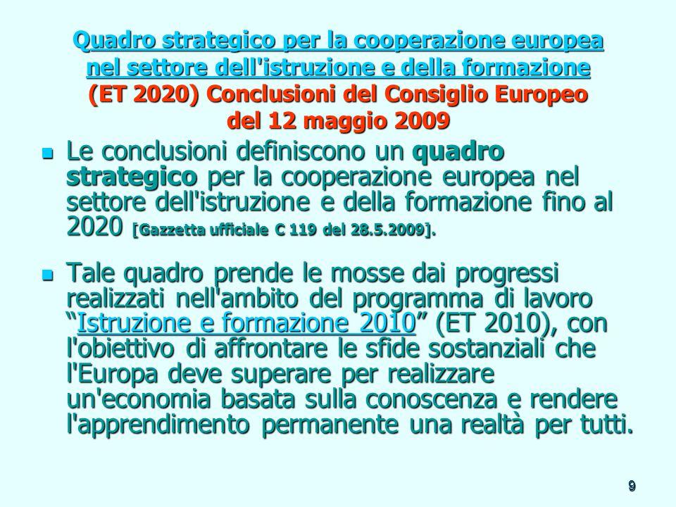 9 Quadro strategico per la cooperazione europea nel settore dell'istruzione e della formazione (ET 2020) Conclusioni del Consiglio Europeo del 12 magg