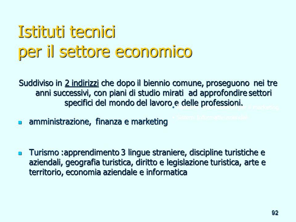 92 Istituti tecnici per il settore economico Suddiviso in 2 indirizzi che dopo il biennio comune, proseguono nei tre anni successivi, con piani di stu