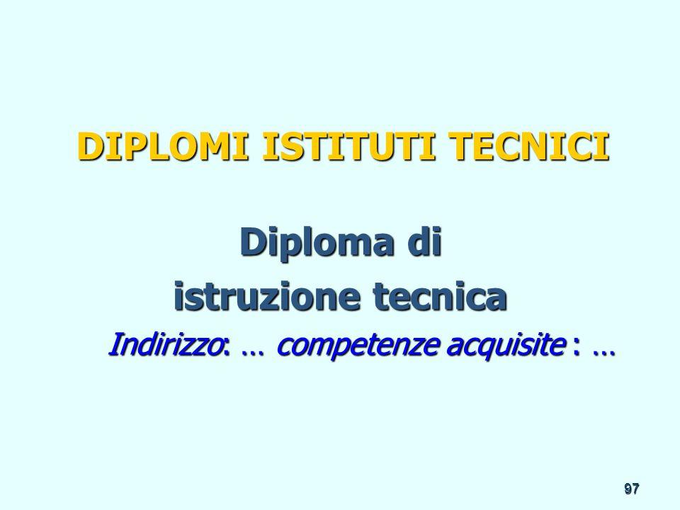 97 DIPLOMI ISTITUTI TECNICI Diploma di istruzione tecnica Indirizzo: … competenze acquisite : … Indirizzo: … competenze acquisite : …