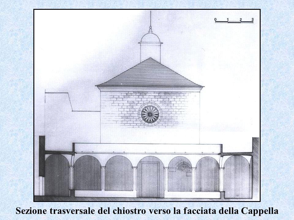 Sezione trasversale del chiostro verso la facciata della Cappella