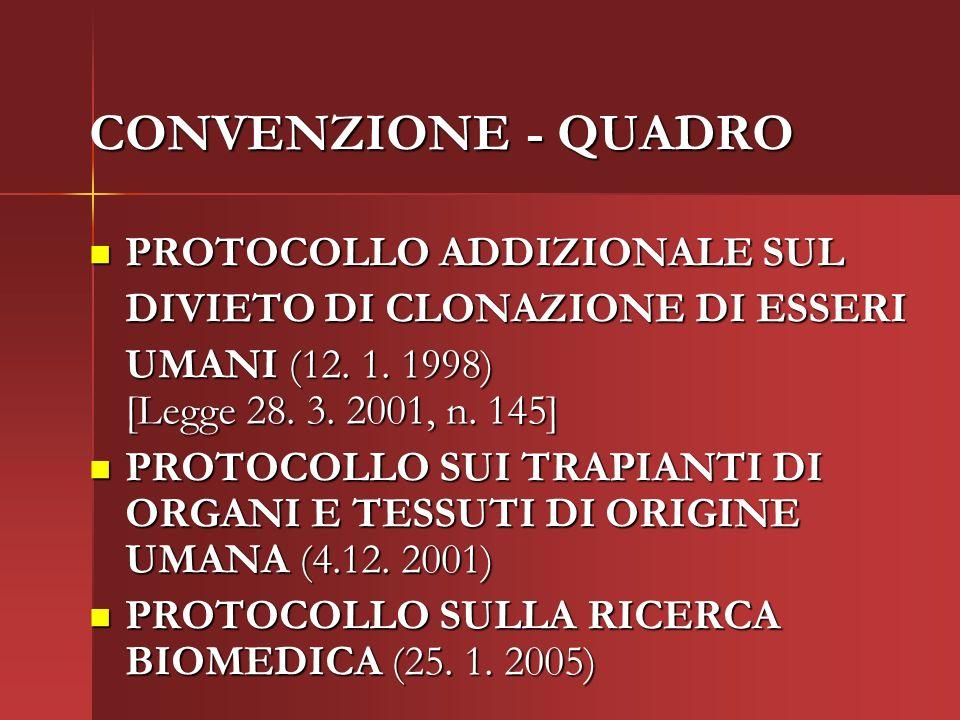 CONVENZIONE - QUADRO PROTOCOLLO ADDIZIONALE SUL PROTOCOLLO ADDIZIONALE SUL DIVIETO DI CLONAZIONE DI ESSERI UMANI (12.