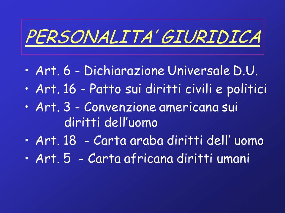 PERSONALITA GIURIDICA Art. 6 - Dichiarazione Universale D.U. Art. 16 - Patto sui diritti civili e politici Art. 3 - Convenzione americana sui diritti