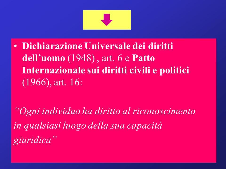 Dichiarazione Universale dei diritti delluomo (1948), art. 6 e Patto Internazionale sui diritti civili e politici (1966), art. 16: Ogni individuo ha d