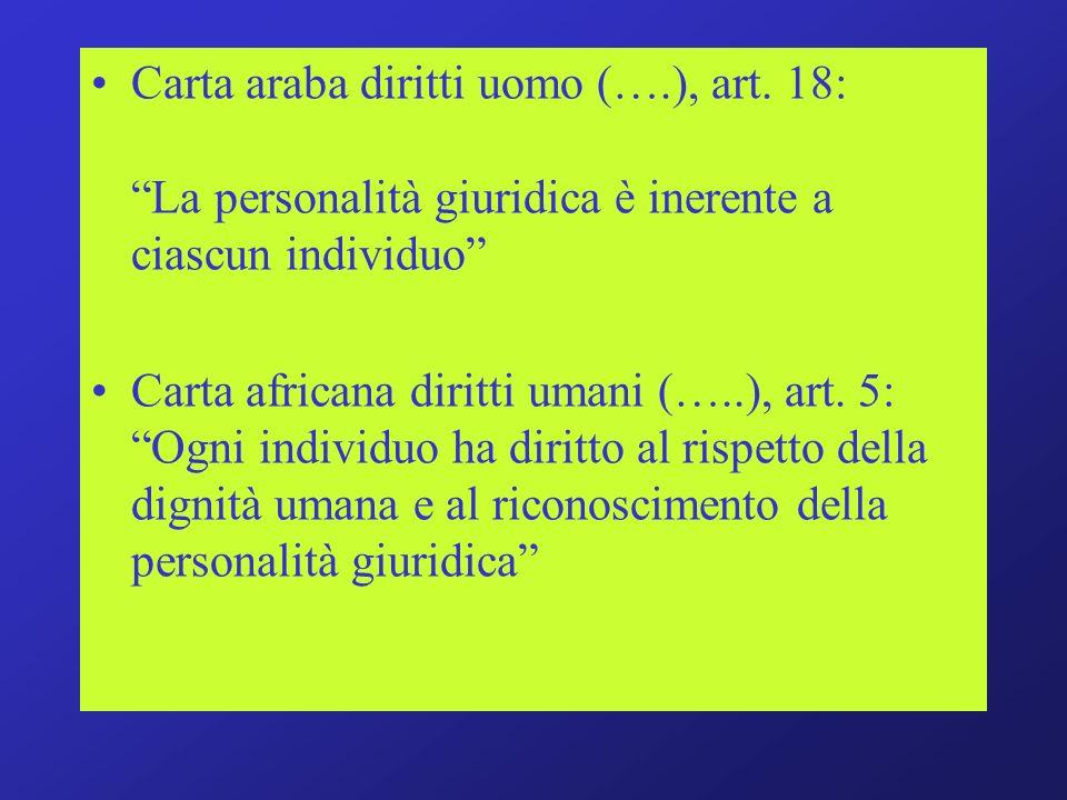Carta araba diritti uomo (….), art. 18: La personalità giuridica è inerente a ciascun individuo Carta africana diritti umani (…..), art. 5: Ogni indiv