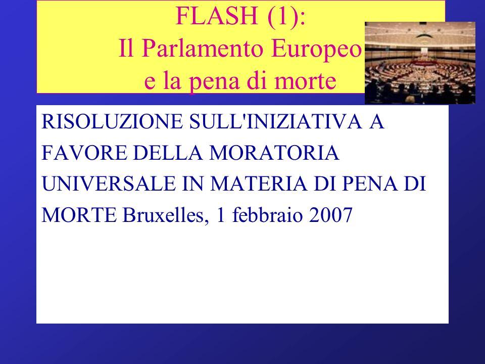 RISOLUZIONE SULL'INIZIATIVA A FAVORE DELLA MORATORIA UNIVERSALE IN MATERIA DI PENA DI MORTE Bruxelles, 1 febbraio 2007 FLASH (1): Il Parlamento Europe