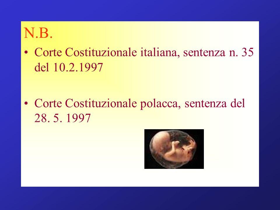 N.B. Corte Costituzionale italiana, sentenza n. 35 del 10.2.1997 Corte Costituzionale polacca, sentenza del 28. 5. 1997