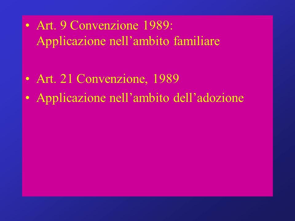 Art. 9 Convenzione 1989: Applicazione nellambito familiare Art. 21 Convenzione, 1989 Applicazione nellambito delladozione