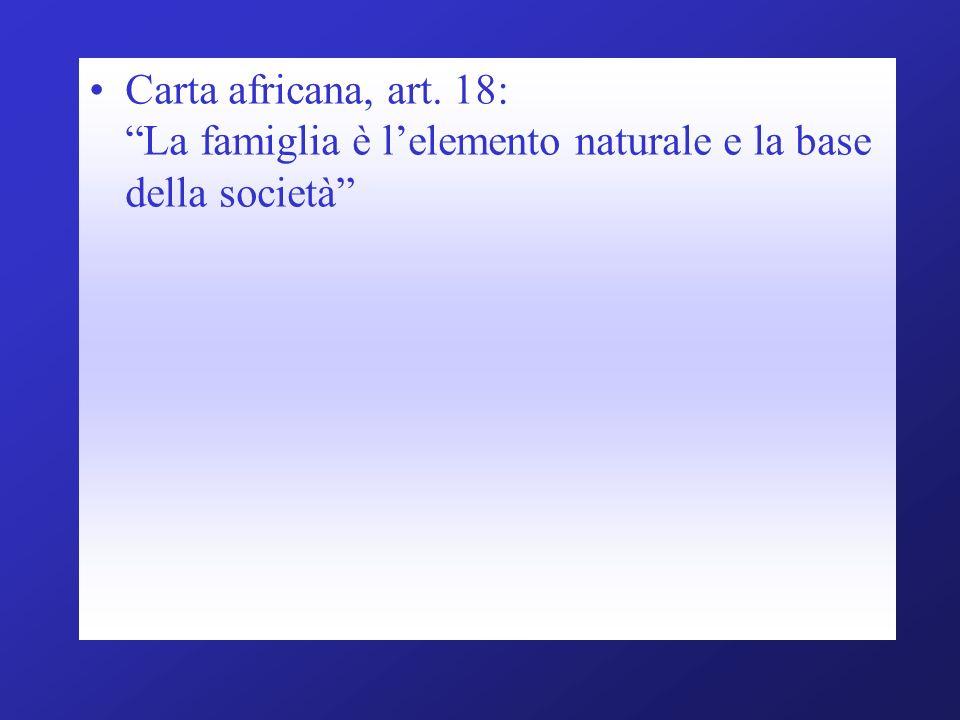 Carta africana, art. 18: La famiglia è lelemento naturale e la base della società