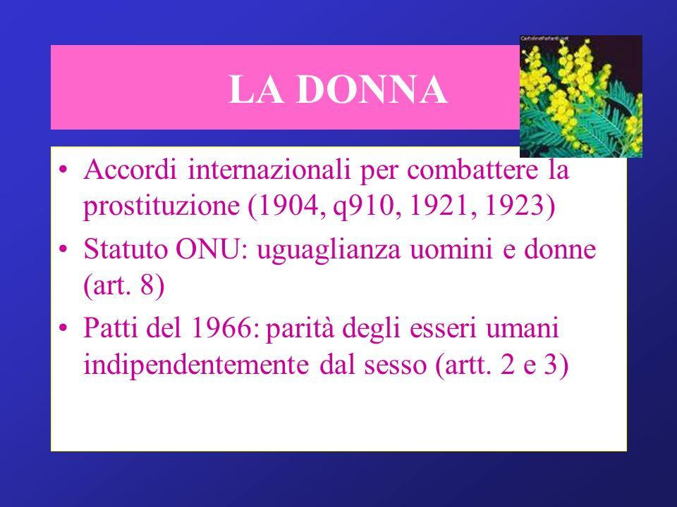 LA DONNA Accordi internazionali per combattere la prostituzione (1904, q910, 1921, 1923) Statuto ONU: uguaglianza uomini e donne (art. 8) Patti del 19