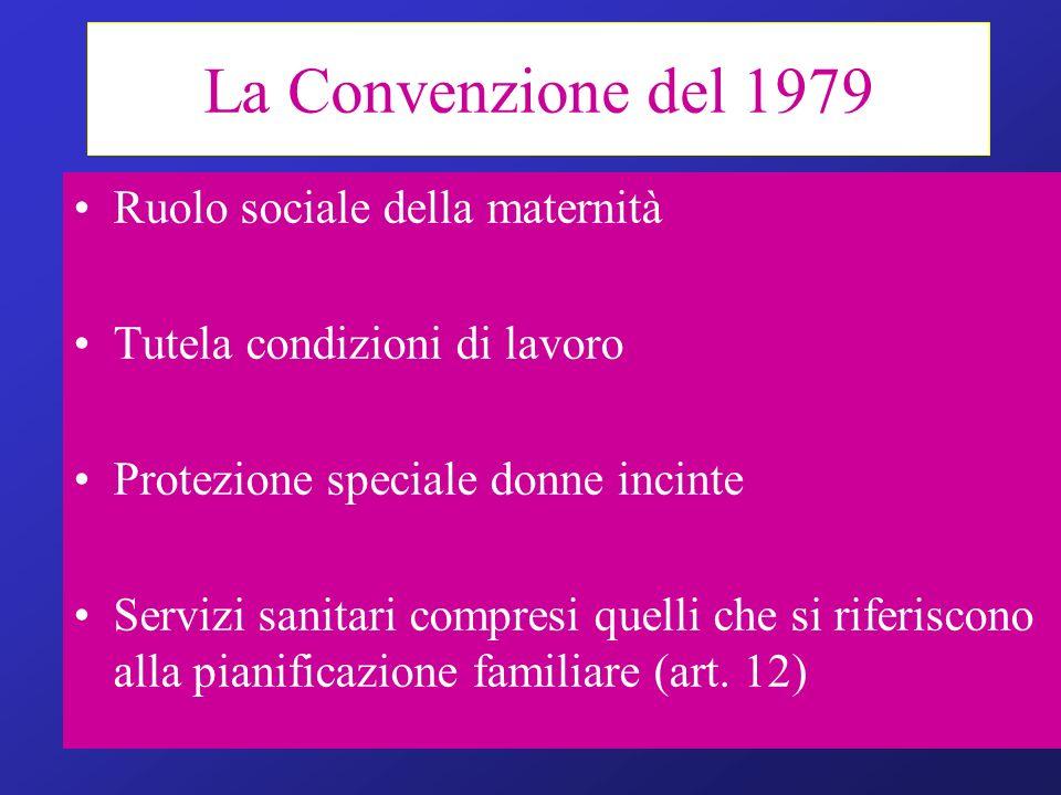 La Convenzione del 1979 Ruolo sociale della maternità Tutela condizioni di lavoro Protezione speciale donne incinte Servizi sanitari compresi quelli c
